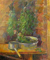 Virgács festmény a szaunában